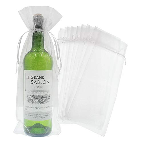 Bezall 20pcs Drawstring Organza Wine Bottle Cover Pouch Christmas Wedding Favor Wrap Gift Bags Party Decoration 5.5 x 14.5 Inches (White)