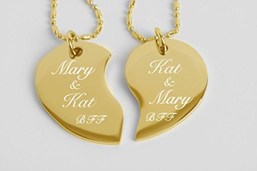 Engraved Couple's Split Heart Tear Drop Shaped Gold Necklace Set Personalized Free by aandlengraving (Image #2)