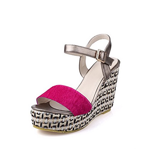 AllhqFashion Women's Buckle Open Toe Kitten-Heels Imitated Suede Assorted Colors Sandals RoseRed