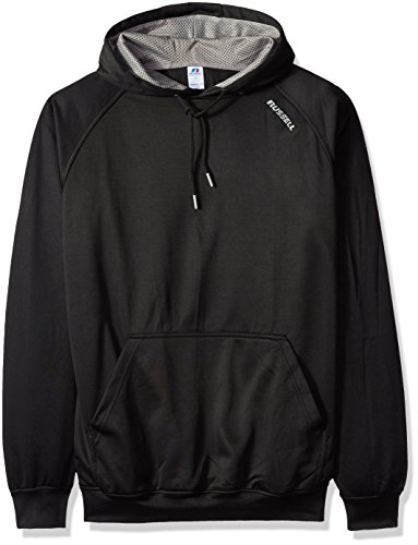 Russell Athletic Men's Big and Tall Ls Poly Rag Hd with Russell on Shoulder, Black/Black, 3X