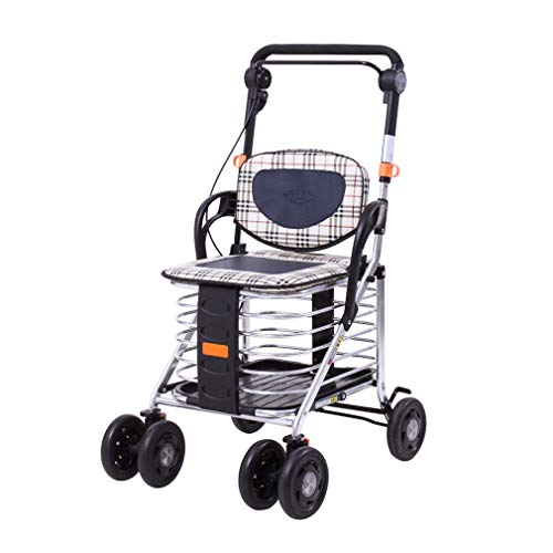 Elderly Shopping Cart with Storage Basket |Foldable Rollator Walker with 6 Wheels and Seat,Lockable Brakes,with Night Reflection Strip,Transport Rest Chair for Geriatric Bariatric (2 In 1 Rollator And Transit Chair)