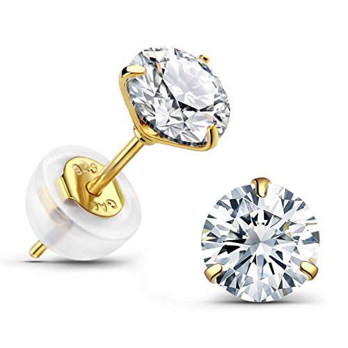 14K Gold Plated Earrings 1.5 Carat Brilliant Cut Simulated Diamond CZ Silver Stud Earrings for Women