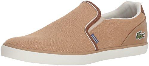 Lacoste Men's Jouer Slip Sneaker, tan Canvas, 7.5 Medium US
