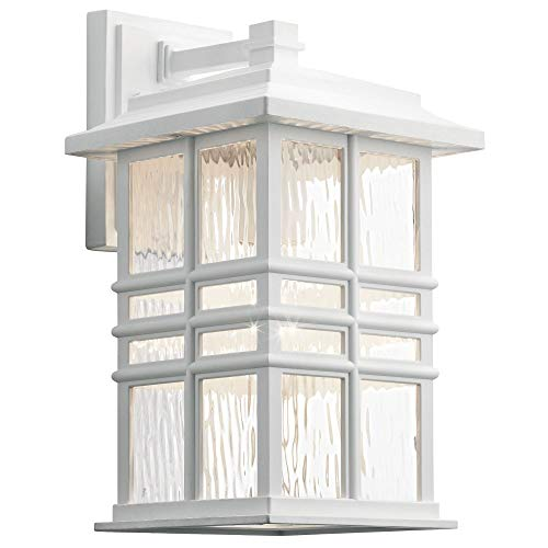 Kichler Lighting 49830WH Beacon Square - One Light Outdoor Medium Wall Lantern, White Finish with Clear Hammered Glass