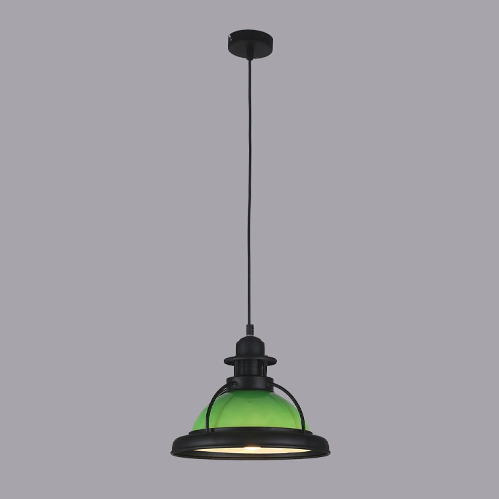 American Country Retro Iron Pendant Lamp, Vintage Creative Green / Milk White Glass Lampshade, Living Room Balcony Clothing Shop Cafe E27 Chandelier (Height: 200cm) ( Color : Green )