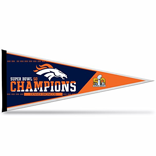 Rico Industries NFL Denver Broncos Super Bowl 50 Champions Pennant, 12-Inch by 30-Inch,Blue