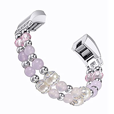 bayite Pearl Bands Compatible with Fitbit Alta and Alta HR, Natural Stone Bead Replacement Bracelet Elastic Stretch Strap Women Girls