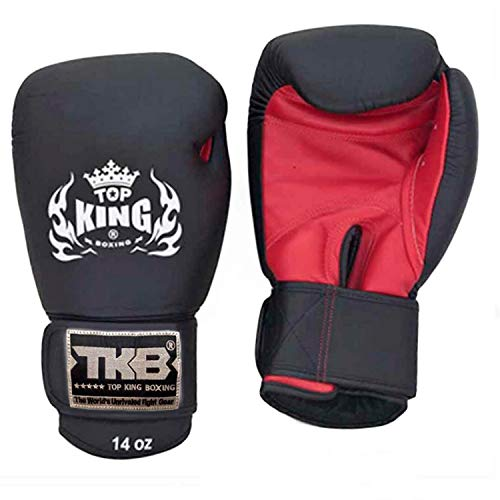 KINGTOP Top King Gloves for Training and Sparring Boxing, Muay Thai, Kickboxing, MMA (TKBGUV - Red/Black/Black,16 oz)