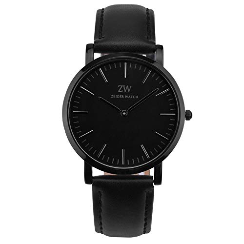 (Zeiger New Mens Women Fashion Casual Business Black Dial Analog Quartz Watch with Leather Band ( Black))