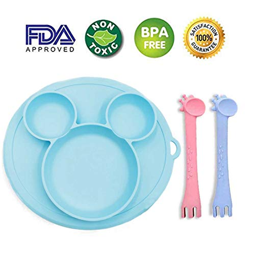 Diriway 2 Pack-Baby Spoon and Fork Training Set Fun Giraffe Design-Blue & Pink,1Pack-Baby Silicone Placemat Table Place Mat-Blue