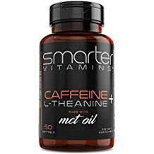 SmarterVitamins KETO 200mg CAFFEINE PILLS with 100mg L-Theanine for Energy, Focus and Clarity + MCT Oil from 100% Coconuts, All Natural Smooth Extended Release in Softgel Capsule Delivery Absorption