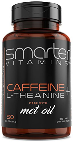 SmarterVitamins CAFFEINE+ 200mg Caffeine Pills with 100mg L-Theanine for Energy, Focus and Clarity + MCT Oil from 100% Coconuts, All Natural Smooth Extended Release in Softgel Delivery Absorption