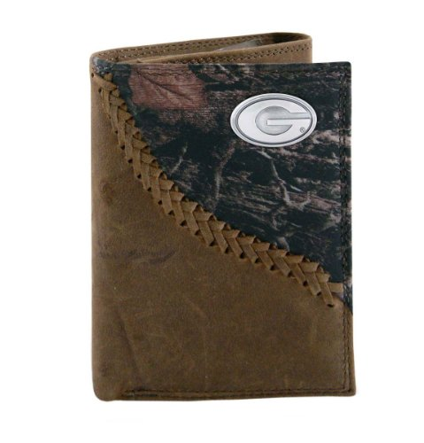 NCAA Georgia Bulldogs Camouflage Leather Trifold Concho Wallet, One Size