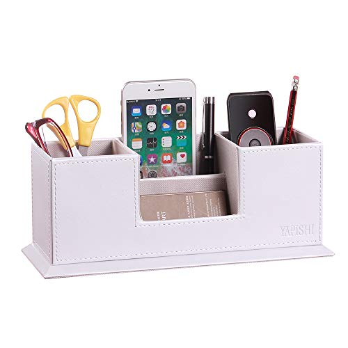 YAPISHI Pen Holder with Business Card Holder, Multifunctional Desk Organizer PU Leather Storage Box Caddy for Pencils Remote Controls Phone Office Stationery, Desktop Supply Accessories Organize Stand