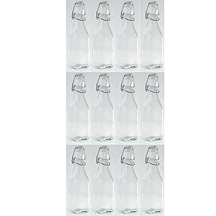 Botellas de cristal (12 unidades con cierre hermético H 20 cm