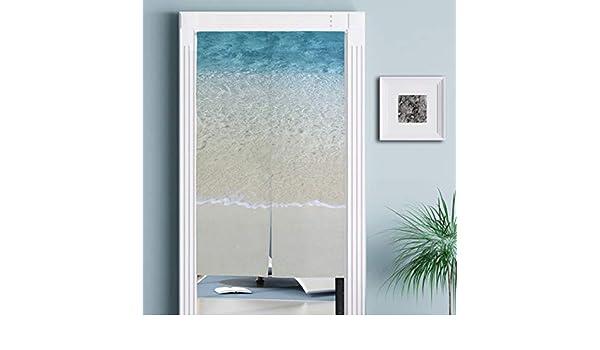 Jacksome - Cortina Japonesa para Puerta de Playa de mar para decoración del hogar, Cocina, Dormitorio, baño, 34 x 56.3 Pulgadas, Barra de tensión incluida: Amazon.es: Hogar