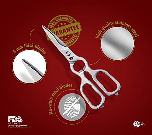 Kitchen Shears -Multipurpose Kitchen Scissors 9.25 Inch Stainless Steel with Detachable Come Apart Blades by Gersin for Heavy Duty Of Meat, Chicken, Vegetables by Gersin (Image #4)