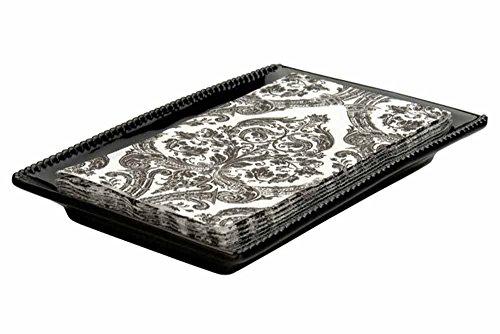 Boston International Ceramic Guest Towel Caddy, Beaded Black