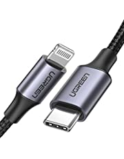 UGREEN Usb C To Lightning Cable Nylon Braided 3Ft Mfi-Certified Fast Power Delivery Charging Cable For Iphone 11 Pro Max X Xs Xr Xs Max 8 Plus And More