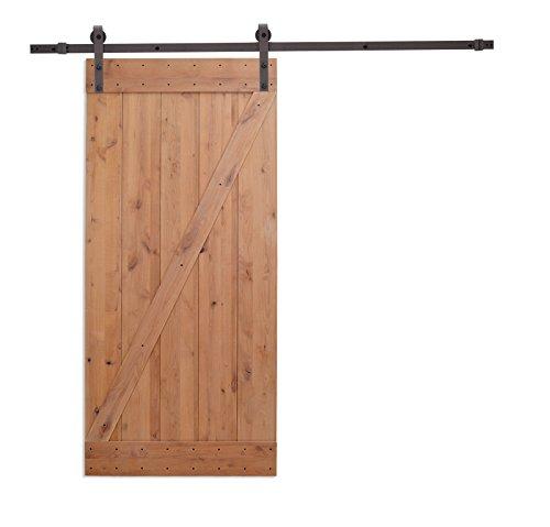 """36""""x84"""" Knotty Alder Natural Primed Wood Barn Door and Sliding Wood Hardware Set"""
