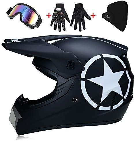 Lwaj Motocross Helmet Gloves Mask And Goggles Set Of 4 Dot Approved Full Face Crash Motorcycle Helmets Kids Quad Bike Atv Go Kart Helmet Weight 1200g 10 Style 52 59cm Amazon Ae