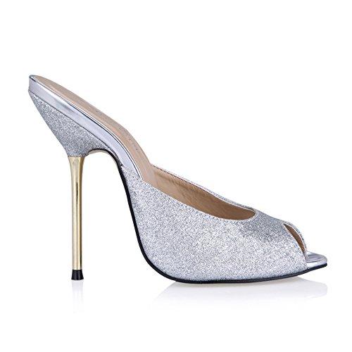 astuce chaussures Sands talon femme Silver grandes poisson banquet à d'argent chaussures femmes haut Sandales 6Fw1xtqSt