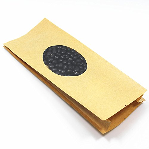 11x30+6cm (4.3x11.8+2.4 inch) Open Top Heat Sealable Kraft Paper Grocery Storage Packing with Clear Window Bread Biscuits Party Favor Gift Wrap Pouch Bulk Food Coffee Wrap with Tear Notches (200) by BAT Pack