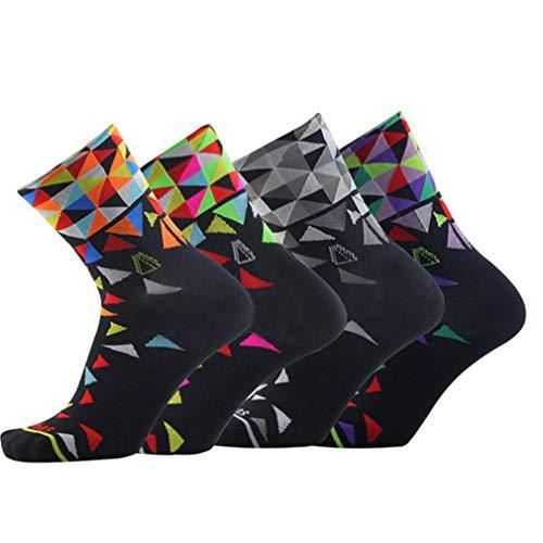 Compressprint Men and Women Cycling Socks 4 Pairs Sports Socks Comprssion Running Socks (Mixed Color) (Mixed Color) ...