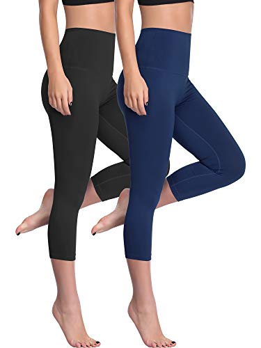 Cadmus High Waist Yoga Capri,Tummy Control,Workout Pants with Pockets for Womens,1002,Black & Navy Blue,Large