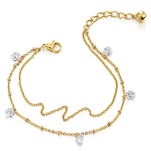 COOLSTEELANDBEYOND Tow-row Stainless Steel Gold Color Anklet Bracelet with Dangling Cubic Zirconia by COOLSTEELANDBEYOND