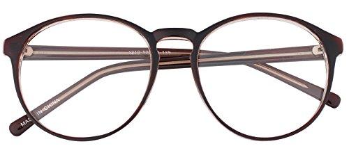 Horn Rimmed Eye Glasses Clear Lens Oval Frame Non Prescription (Brown_1 12192) ()