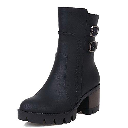 AllhqFashion Womens Low-top Solid Zipper Round Closed Toe Kitten Heels Boots Black EF36YKq4