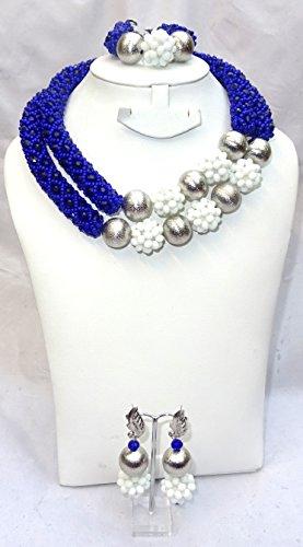 Prestigeapplause dernier Motif Bleu et blanc ras du cou mariée Perles de fête Ensemble de bijoux
