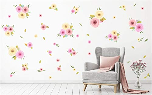 - PapaKit Large Hand Painted Spring Flowers Wall Decal Mural (Watercolor Floral Design 72 Pcs) Baby Girl Nursery Child Kid Teen Room Home Decor | Creative Art Pattern | Wedding Bridal Shower Party Event