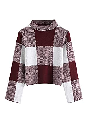 Floerns Women's Long Sleeve High Neck Plaid Crop Sweater Pullover