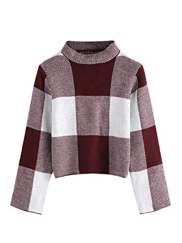 Floerns Womens Long Sleeve High Neck Plaid Crop Sweater Pullover