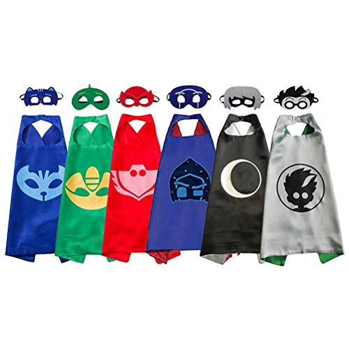 6 Sets Kids Mask Capes Superhero Costume Birthday Party Supplies for Girls Boys]()