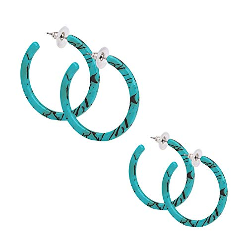 PHALIN JEWELRY Acrylic Round Earrings Resin Circle Hoop Earrings for Girls and Ladies (3# - D 2PCS Turquoise Color Medium)