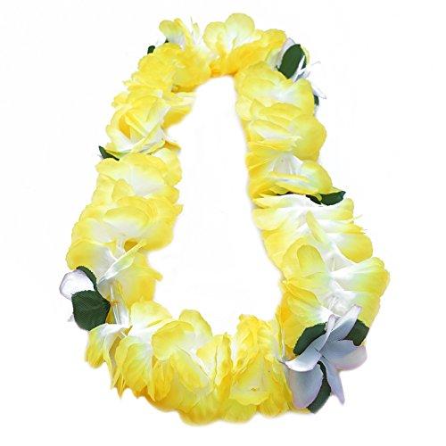 Premium Hawaiian Lei - Paradise Petunia w/ Orchids in Pineapple Yellow