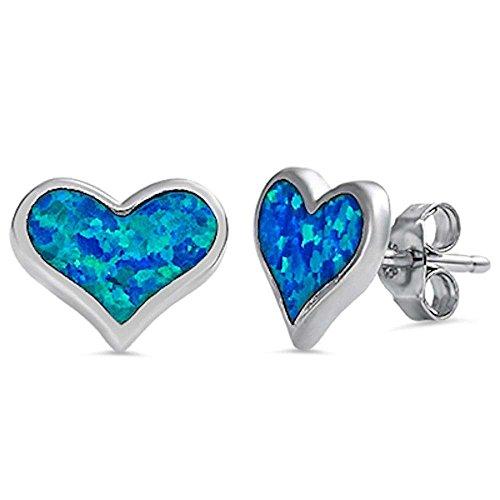 Solid Lab Created Blue Fire Opal Heart .925 Sterling Silver Earrings - Heart Earrings Opal Blue