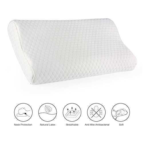 Latex Pillow Fivanus 100% Natural Latex Foam Pillows Comfortable Memory Foam Supportive Pillows with Washable Cotton PillowCase, Fit for Back and Side Sleepers.