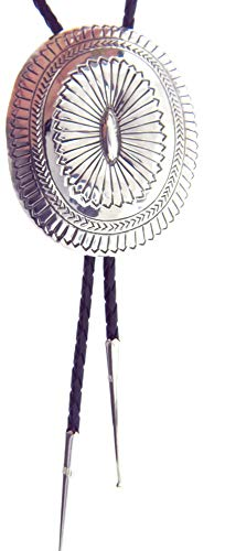 Hand Made by Navajo Carson Blackgoat  Beautiful Large Sterling Silver  Concho Bolo Tie
