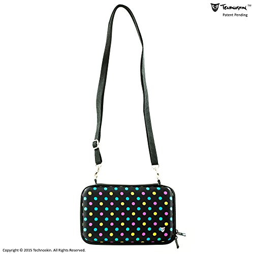 Technoskin - Compact Travel Carrying Case for NEW 3DS or NEW 3DS XL - Polka Dot - 8 Game Holders - Hard Cover - Mesh Accessory Pouch - Carrying Strap