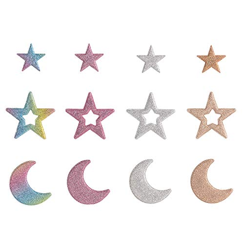 Calculs Decorative Pins Star Moon Motif Iron On Patches Glitter Applique for Heat Transfer Clothing Shoe Bag Bling-Bling DIY 12 Count