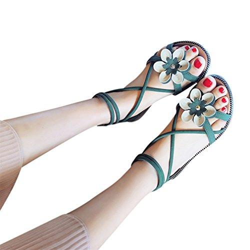 Estivi ragazze Bohemian Scarpe Elegante Casuale Verde Peep Toe Infradito Fiori Anti Ciabatte Tacco Basso Slittamento Bassi Donna Longra Shoes Pu Aperte Sandali WA60a6SY