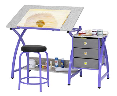 Comet Center with Stool in Purple / Spatter Gray (Computer Desk Purple)