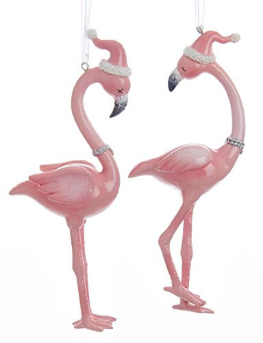 (Kurt Adler Millennial Pink Flamingos in Santa Hats Christmas Holiday Ornaments Set of 2)