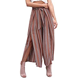 Simplee Women s Elegant Striped Split High Waisted Belted Flowy Wide Leg Pants Rust Red Stripe 1/9 Large 10