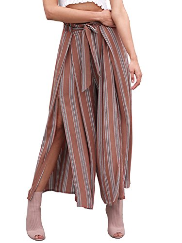 (Simplee Women's Elegant Striped Split High Waisted Belted Flowy Wide Leg Pants, Rust Red Stripe, 4/6, Small)