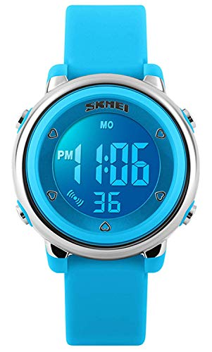 Bo Yi Kids LED Digital Unusual Electrical Luminescent Silicone Outdoor Sport Waterproof Alarm Children Dress Wrist Watch with Stopwatch for Boys Girls (Blue) ()